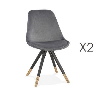 Lot de 2 chaises repas en tissu gris et pieds noirs - KRAFT