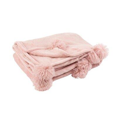 Plaid 130x170 cm en polyester rose avec pompons - PANDO
