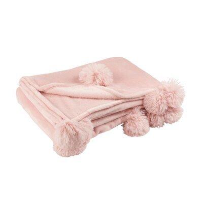 Plaid 130x170 cm en polyester rose clair avec pompons - PANDO