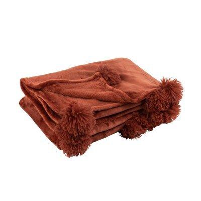 Plaid 130x170 cm en polyester marron avec pompons - PANDO