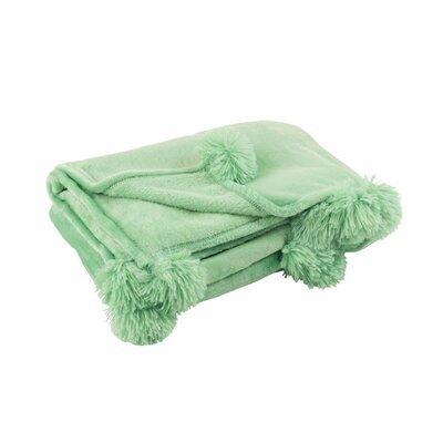 Plaid 130x170 cm en polyester vert d'eau avec pompons - PANDO