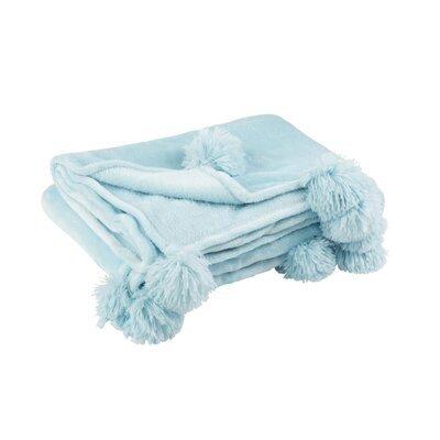 Plaid 130x170 cm en polyester bleu clair avec pompons - PANDO
