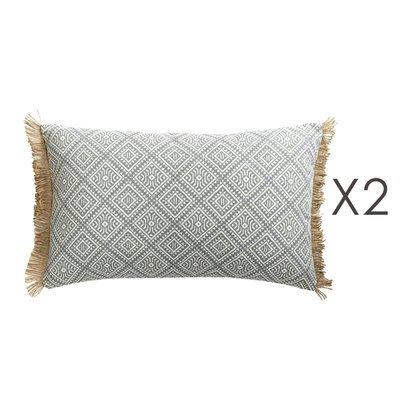 Lot de coussins 50x30 cm avec franges en coton - DIAMY