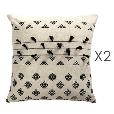 Lot de 2 coussins carrés 50 cm en coton blanc et noir - MANDY