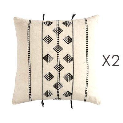 Lot de 2 coussins carrés 40 cm en coton blanc et noir - MANDY