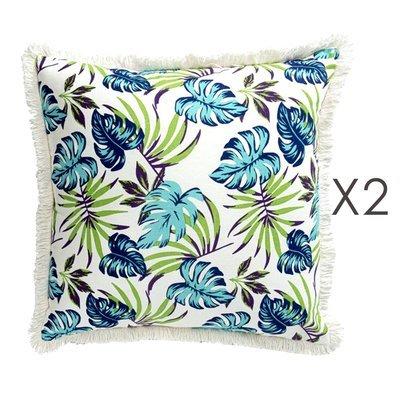 Lot de 2 coussins carrés 50 cm avec franges motif exotique - EXOBLEU