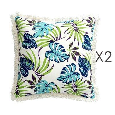 Lot de 2 coussins carrés 40 cm avec franges motif exotique - EXOBLEU