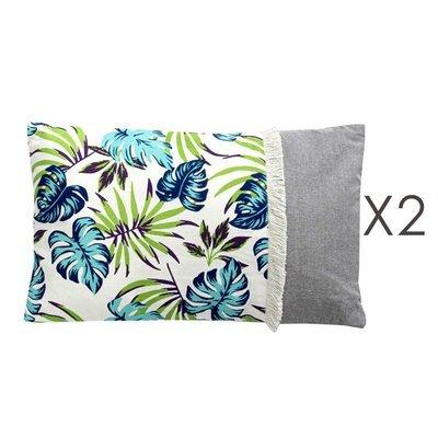 Lot de 2 coussins 50x30 cm motif exotique - EXOBLEU