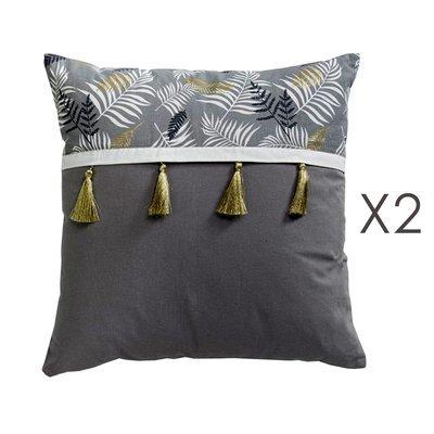 Lot de 2 coussins 50 cm avec pompons en coton gris et doré - GREYSI