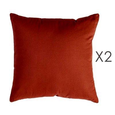 Lot de 2 coussins carrés 50 cm en coton marron - YUNI
