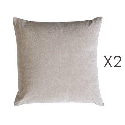 Lot de 2 coussins carrés 50 cm en coton gris clair - YUNI