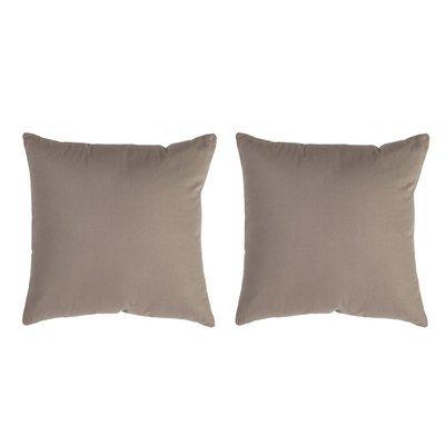 Lot de 2 coussins carrés 50 cm en coton taupe - YUNI