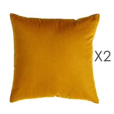 Lot de 2 coussins carrés 50 cm en coton curry - YUNI
