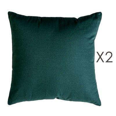 Lot de 2 coussins carrés 50 cm en coton vert foncé - YUNI