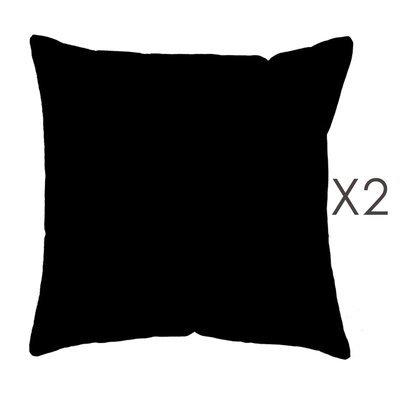 Lot de 2 coussins carrés 50 cm en coton noir - YUNI