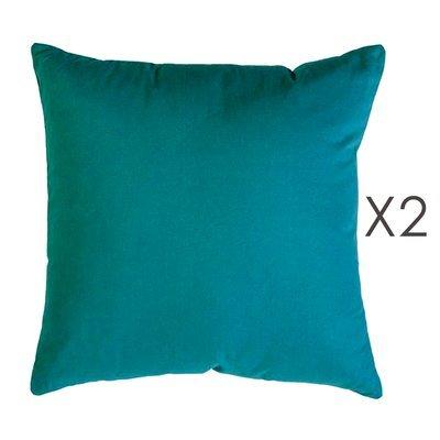 Lot de 2 coussins carrés 50 cm en coton turquoise - YUNI