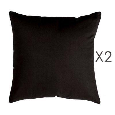 Lot de 2 coussins carrés 50 cm en coton anthracite - YUNI
