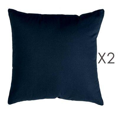 Lot de 2 coussins carrés 50 cm en coton bleu foncé - YUNI