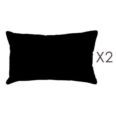 Lot de 2 coussins 50x30 cm en coton noir - YUNI