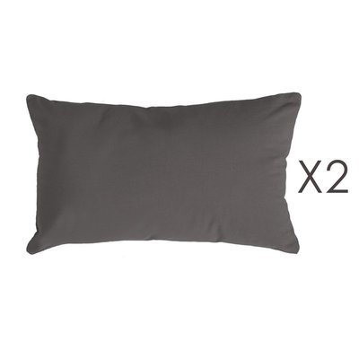 Lot de 2 coussins 50x30 cm en coton anthracite - YUNI