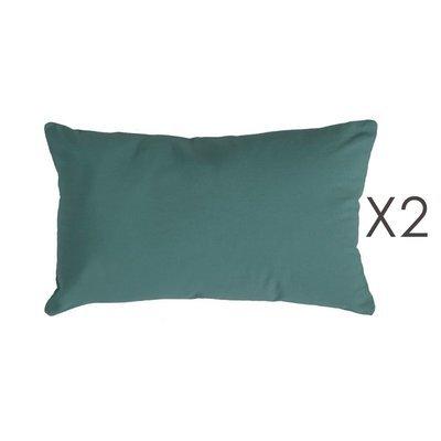 Lot de 2 coussins 50x30 cm en coton vert foncé - YUNI