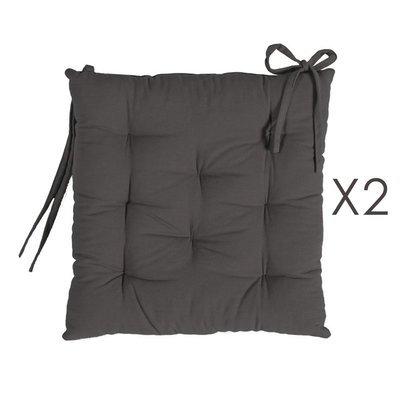 Lot de 2 galettes de chaise 40x40 cm en coton anthracite - YUNI