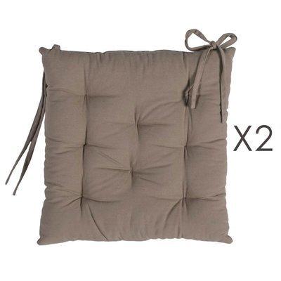 Lot de 2 galettes de chaise 40x40 cm en coton taupe - YUNI