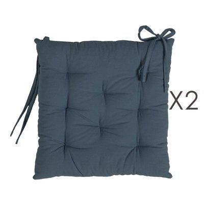 Lot de 2 galettes de chaise 40x40 cm en coton bleu foncé - YUNI
