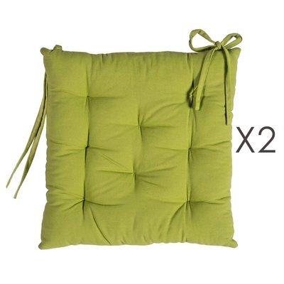 Lot de 2 galettes de chaise 40x40 cm en coton anis - YUNI