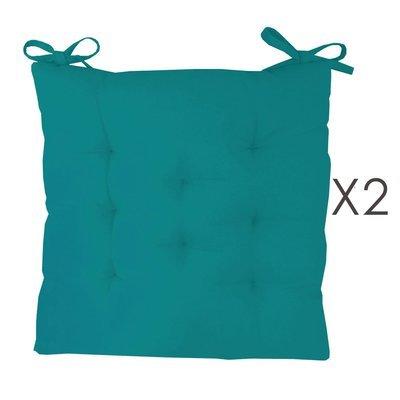 Lot de 2 galettes de chaise 40x40 cm en coton turquoise - YUNI