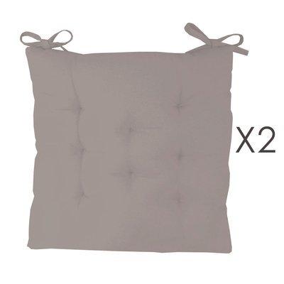 Lot de 2 galettes de chaise 40x40 cm en coton gris - YUNI