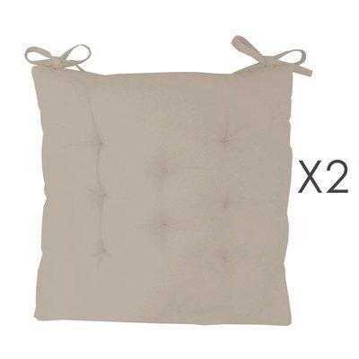 Lot de 2 galettes de chaise 40x40 cm en coton gris clair - YUNI