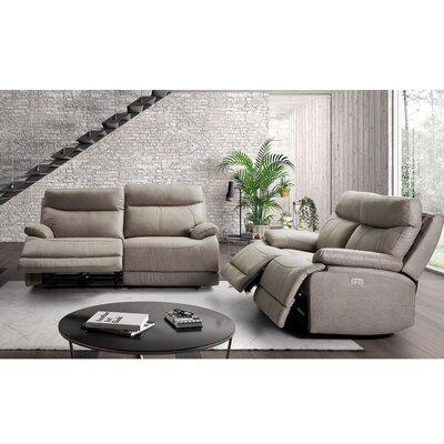 Ensemble de canapés de relaxation 3+2 places fixe en microfibre gris