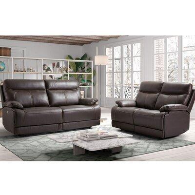 Ensemble de canapés de relaxation 3+2 places fixe en cuir marron