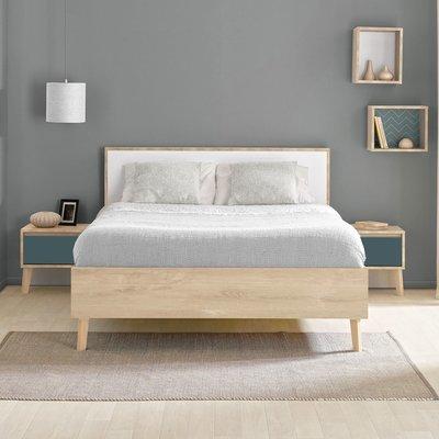 Lit 2 places 160x200 cm décor chêne clair et blanc - JASON