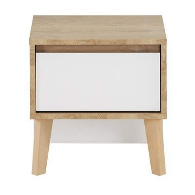 Chevet 1 tiroir décor chêne clair et blanc - JASON