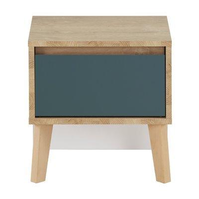 Chevet 1 tiroir décor chêne clair et bleu - JASON