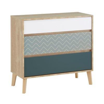 Commode 3 tiroirs décor chêne clair, blanc et bleu - JASON