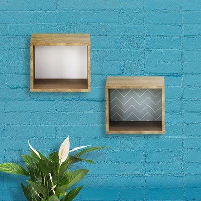 Cube mural décor chêne clair et blanc ou bleu