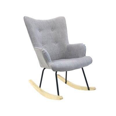 Fauteuil à bascule 65x80x96 cm en tissu gris clair - JOFFRY