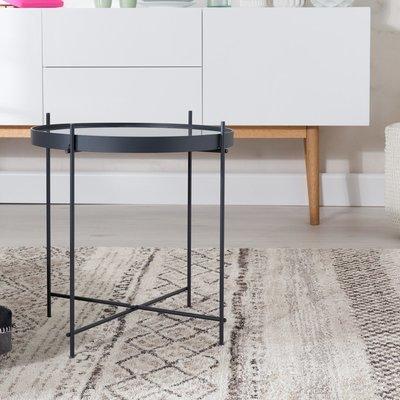Table d'appoint ronde 43 cm en verre et métal noir - CUPID