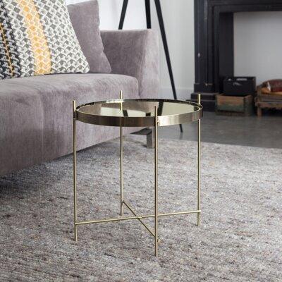 Table d'appoint ronde 43 cm en verre et métal laiton - CUPID