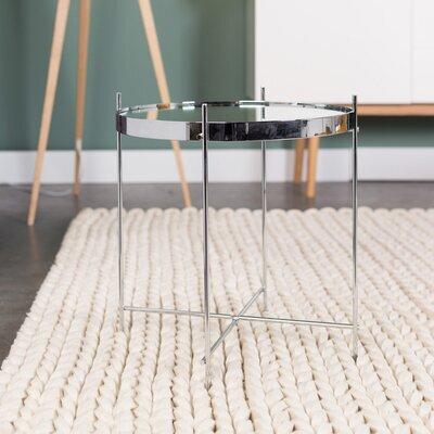 Table d'appoint ronde 43 cm en verre et métal argent - CUPID