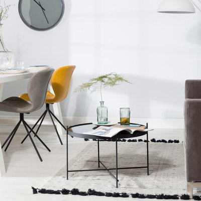 Table basse ronde 62,5 cm en verre et métal noir - CUPID