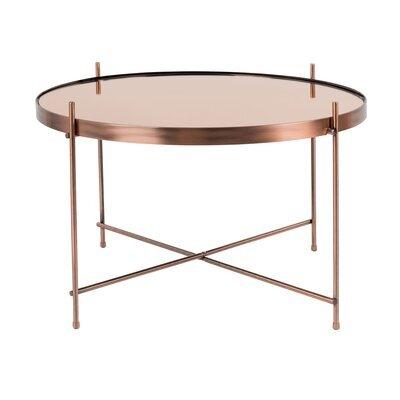 Table basse ronde 62,5 cm en verre et métal cuivré - CUPID