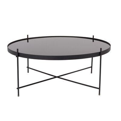 Table basse ronde 82,5 cm en verre et métal noir - CUPID