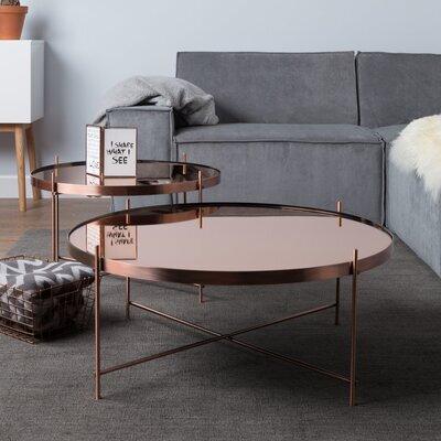 Table basse ronde 82,5 cm en verre et métal cuivré - CUPID