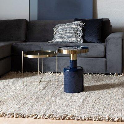 Table d'appoint ronde 36x51 cm en métal bleu foncé - GLAM