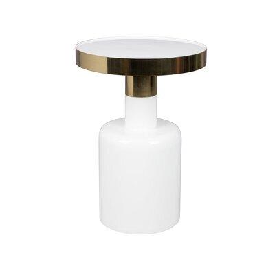 Table d'appoint ronde 36x51 cm en métal blanc - GLAM