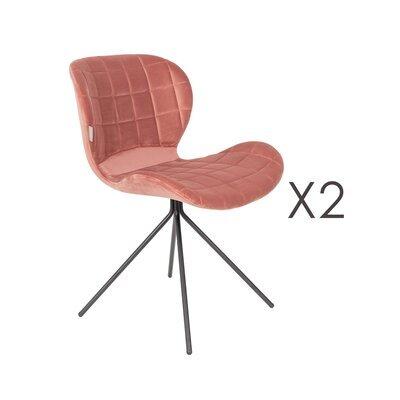 Lot de 2 chaises vintage en velours rose - OMG